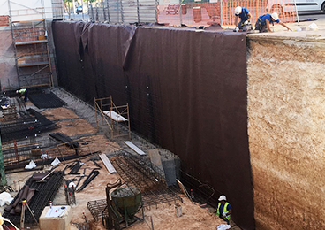 Impermeabilización muro con lámina drenante Danodren H15